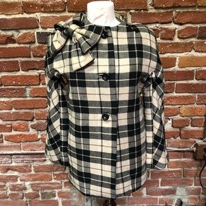 NWT Kate Spade Girl's Plaid Wool Pea Coat with Bow